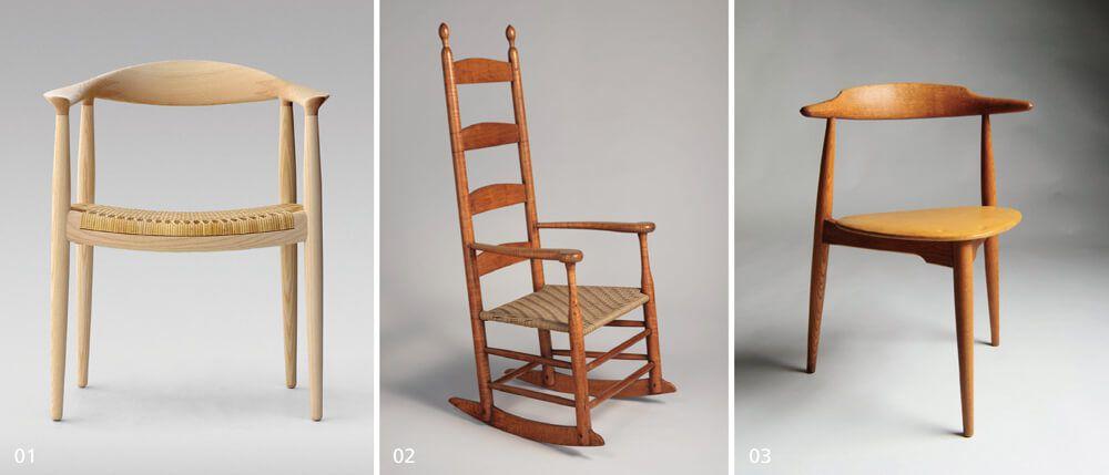 01_The Chair,1949年發表以來已經成為韋格納著名的代表作。02_Shaker  Rocking Chair CH45,美國總統甘迺迪(John F. Kennedy)因為曾參與戰爭,  背部受到砲擊破片受傷,因此特別喜愛這張舒適的搖椅。03_The Heart Chair  心形椅,現代較為少見的三腳支撐座椅,似乎與丹麥古老民宅內有泥土地的房  間有關,在凹凸不平處較為穩固。