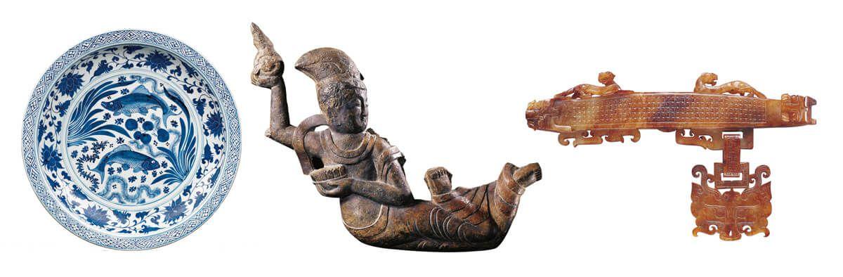 元代青花雙魚藻紋大盤 / 北齊飛天像 / 戰國晚期玉獸首大帶鉤