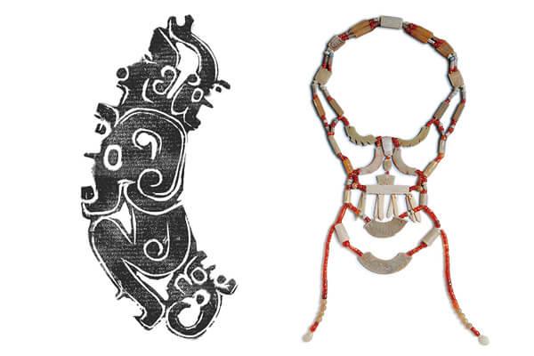 (左)西周晚期 人龍紋玉佩拓片(右)西周晚期 玉串飾