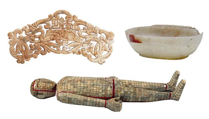 (左)東漢 「延年」珩/(右)西漢 羽觴杯/(下)漢代 金鏤玉匣