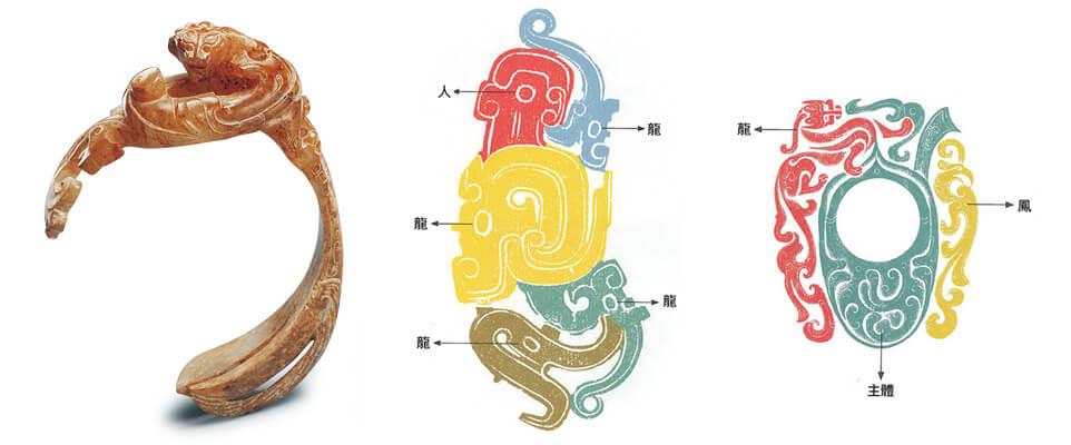(由左至右)漢代 螭龍紋佩 環外邊料 弧形螭龍 、西周 人龍紋玉佩 四龍一人 人形組裝