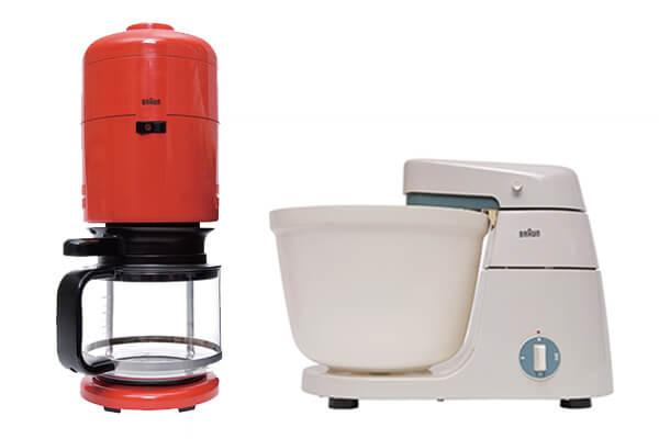 1972年為百靈牌設計的KF20咖啡壺 (圖左)、1957年為百靈牌設計的KM3食物調理機(圖右)