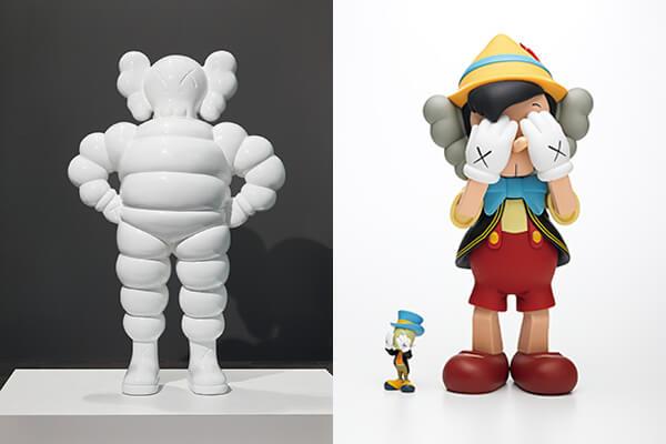 (圖左)米其林的輪胎人,也是KAWS諧擬的對象之一;(圖右)木偶奇遇記的皮諾丘也化為KAWS的創作主題
