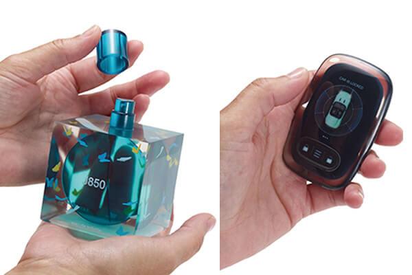 利用Stratasys J850全彩3D列印機的VeroUltraClear全新透明材料,搭配Pantone顏色製作出極高精確度、細緻紋理以及出色的圖像和顏色品質來完成超逼真的香水瓶及車鑰匙模型。