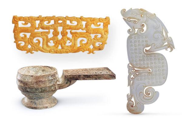 戰國晚期龍形玉佩(右)、戰國早中期玉瓚(左下)、戰國中期 鏤空龍鳳紋玉佩(左上)