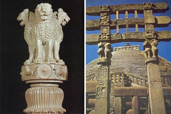 圖一:阿育王獅子柱頭 (左)、圖三:桑奇大塔門欄雕刻 (右)