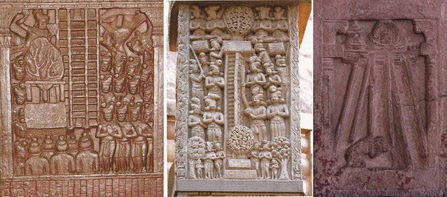 圖九:三道寶階降下圖對比:巴爾胡特(左)、桑奇大塔(中)、右-秣菟羅(右)