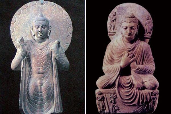圖四:秣菟羅中期佛像 圖五:犍陀羅中期佛像