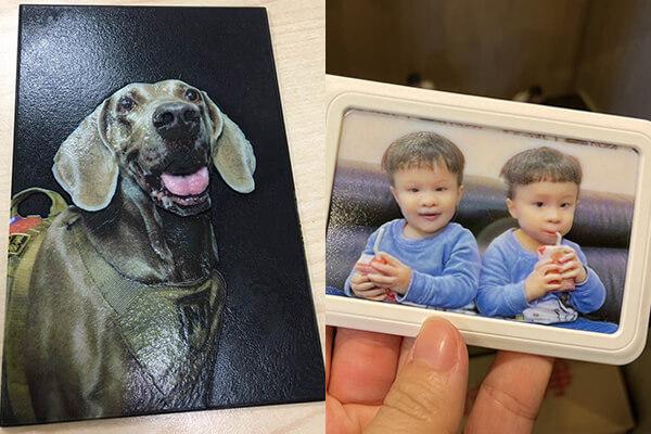 皇順開發將通業技研的2.5D立體照片運用至生活化的悠遊卡/門禁卡或儲值卡上,圖中分別為英勇的搜救犬以及皇順開發員工的家人。