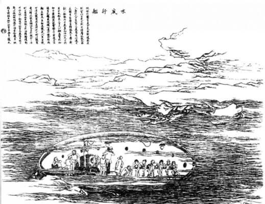 圖四:《水底行船》:時人想像中的潛水艇