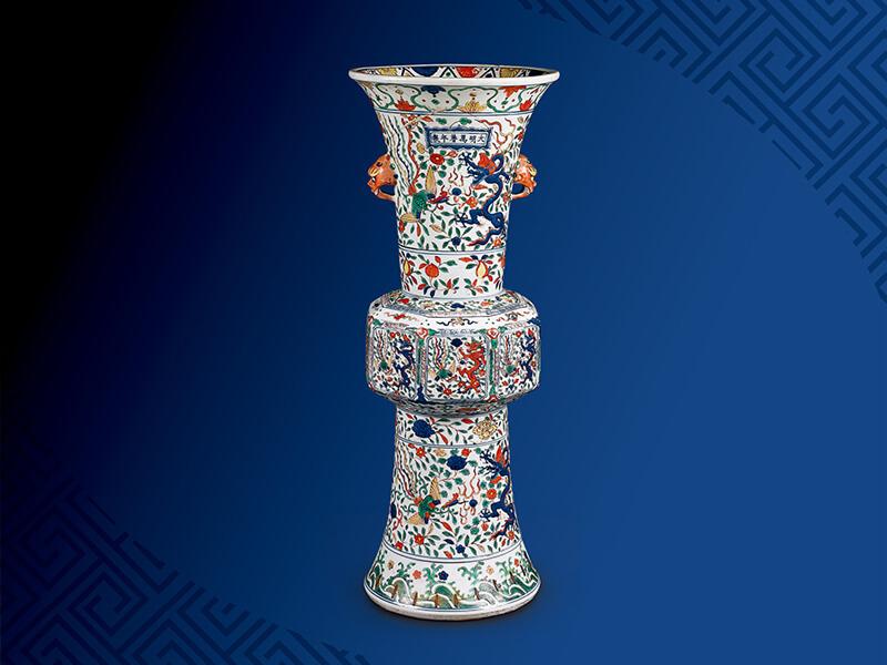 明萬曆 五彩龍鳳紋花觚 高67.5公分/震旦博物館提供