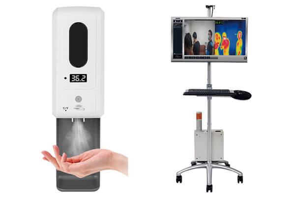 左圖:實驗證實「RIA雙極離子技術」能有效減少99.9%以上人類冠狀病毒的活性。右圖:SNT紅外線熱顯像儀,可多人同時體溫量測,即使戴口罩也能精準測量。